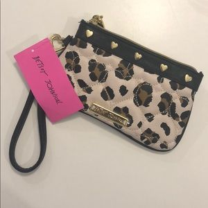 Betsey Johnson Be Mine Leopard Wristlet